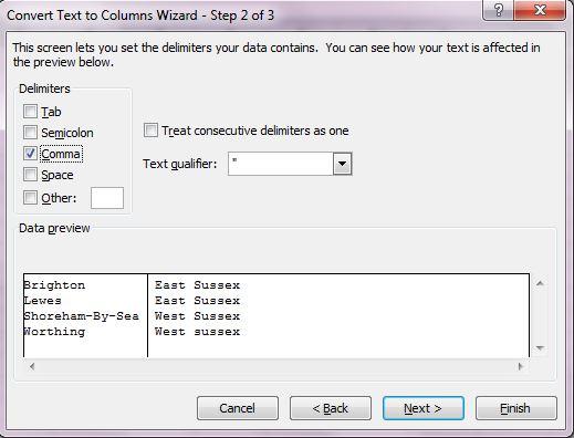 excel splitting text into columns