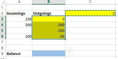 Turn a positive number into a negative in Excel