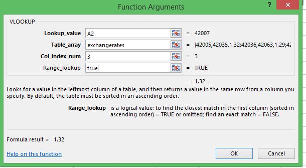 Excel Vlookup using TRUE
